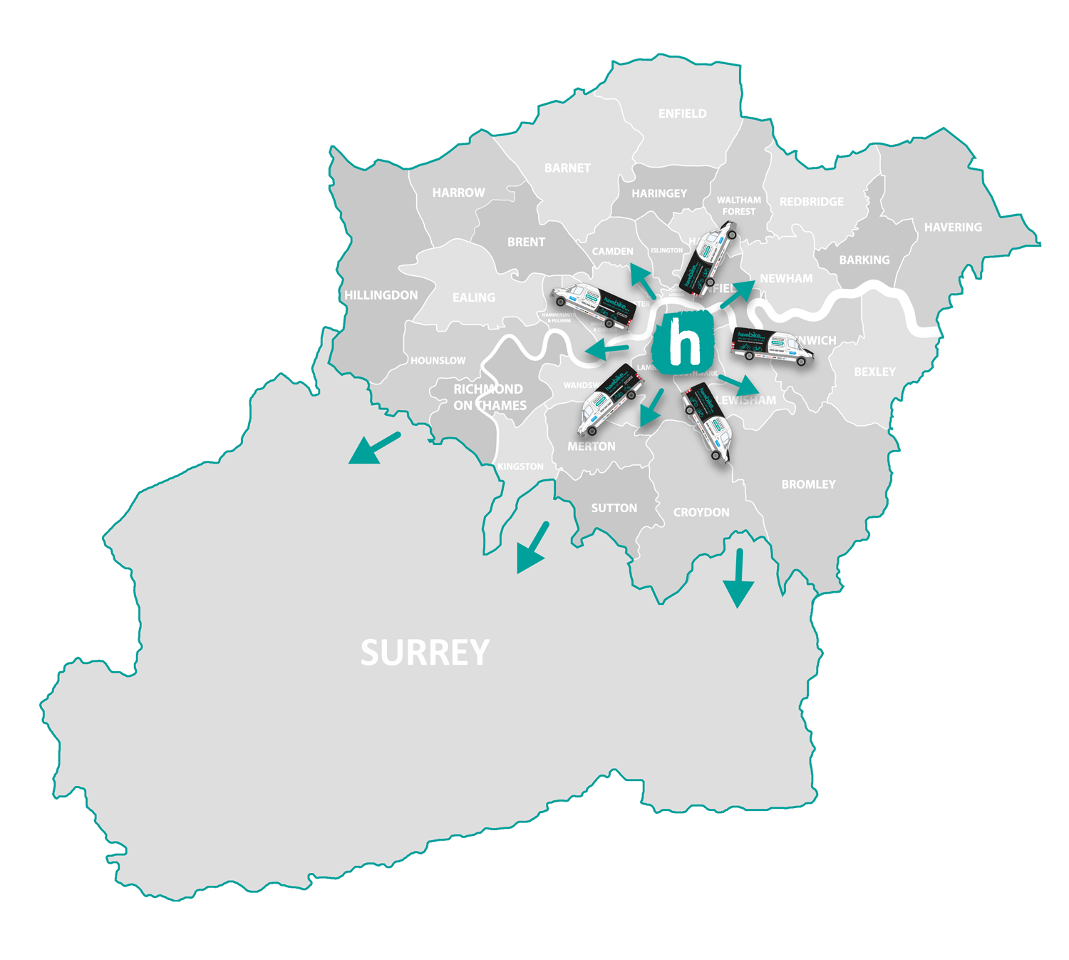 We cover anywhere within The M25 & Surrey as well as other areas of the home counties.
